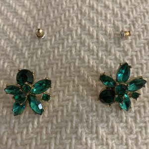 J. Crew Flower Gemstone Earrings - Emerald Green